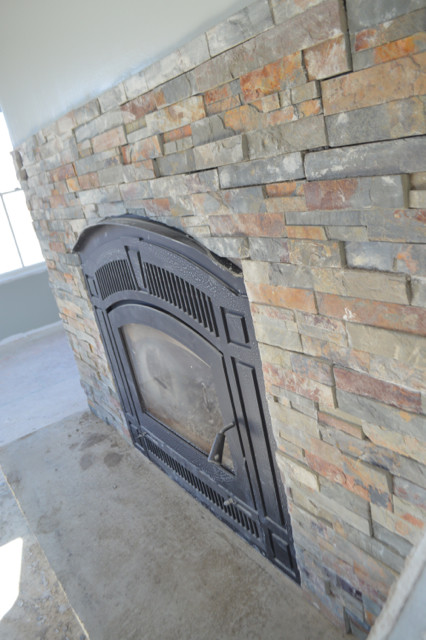 DIY Fireplace with stacked stone and concrete5