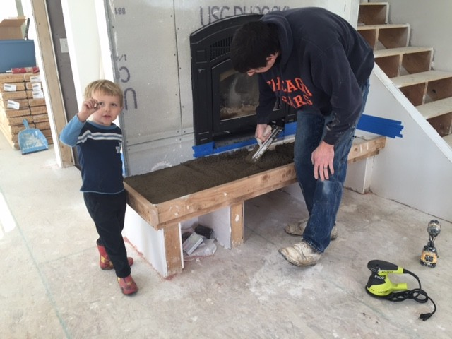 DIY fireplace hearth and stacked stone wall tile - NewlyWoodwards
