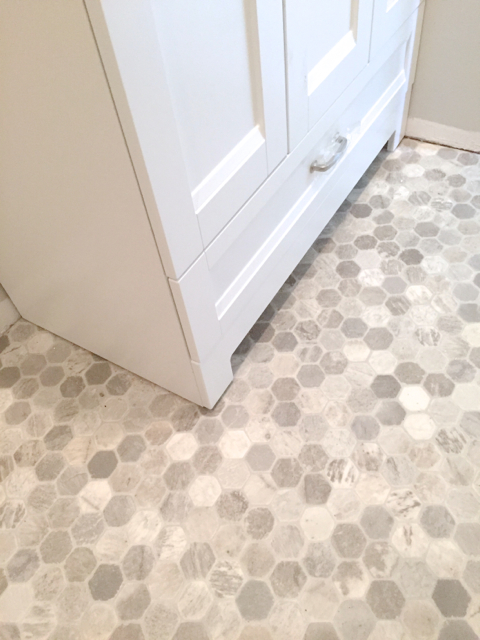 Getting a hex tile look with vinyl newlywoodwards for Tile linoleum bathroom