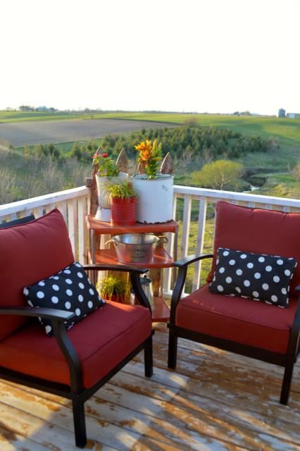Elegant red and black patio furniture conversation set