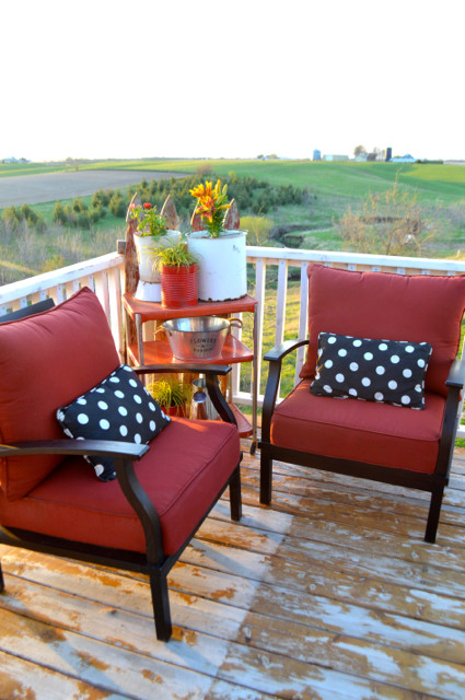 red and black patio furniture conversation set05
