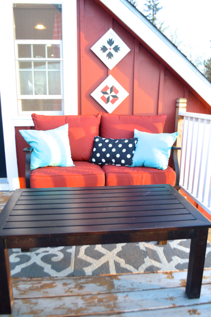 red and black patio furniture conversation set10