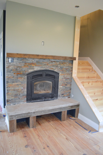 Barn wood and stone fireplace surround1