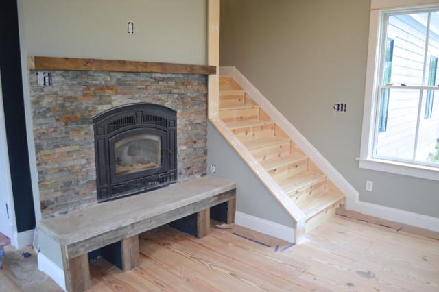 Barn wood and stone fireplace surround2