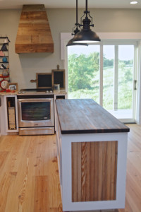 A butcher block countertop for the island