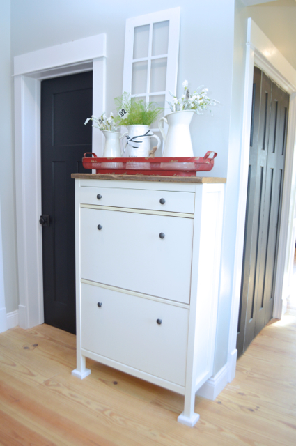 a simple ikea hemnes shoe cabinet hack newlywoodwards