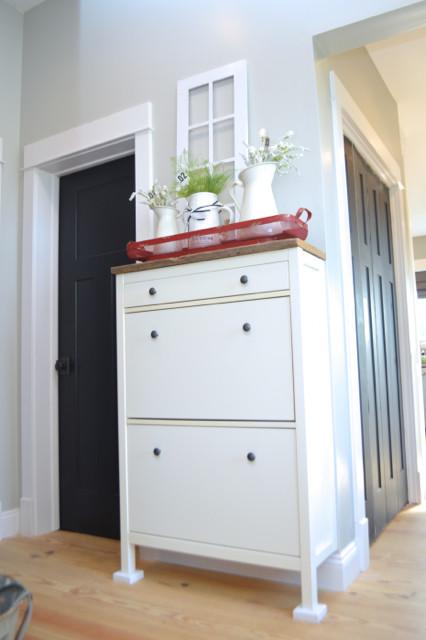 IKEA shoe cabinet hack with barnwood2
