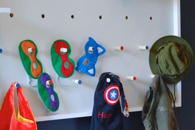 DIY pegboard for costume and kid storage13