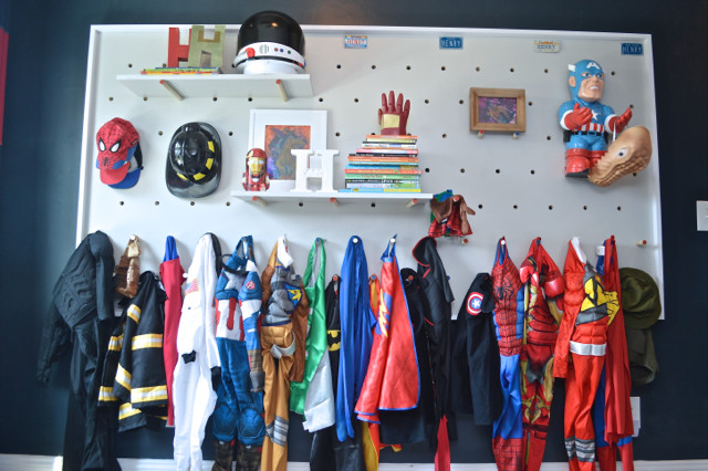 DIY Pegboard For Costume And Kid Storage27