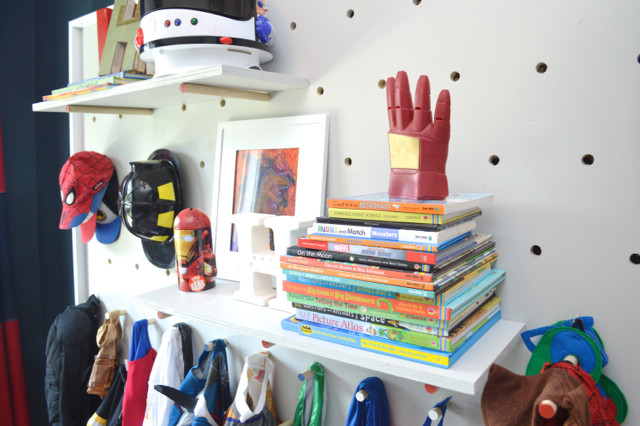 DIY pegboard for costume and kid storage30