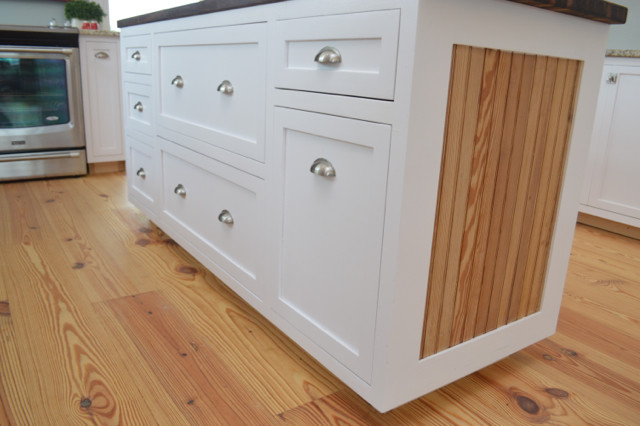 white kitchen island with walnut butcher block top2