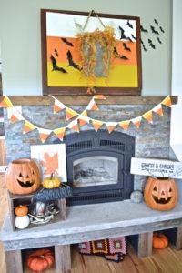 A candy corn mantel | Dec-O-Ween