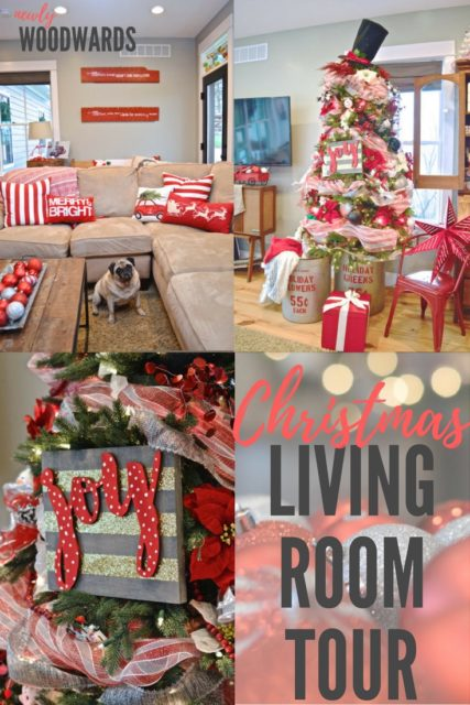 Modern Christmas living room tour in red