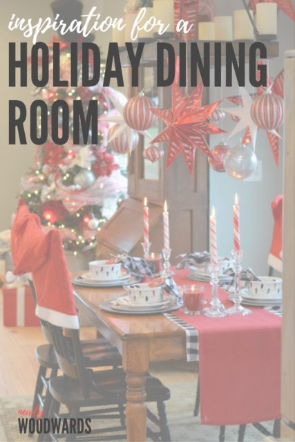 Inspiration for a Christmas diing room - including table settings, hanging stars and ornaments and more.