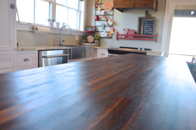 The Smooth, Matte Finish On The Butcher Block Island With Pure Tung Oil   A