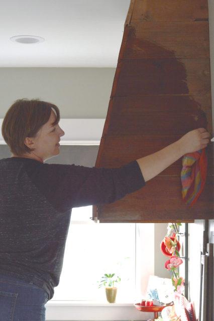 oiling a wood range hood cover1
