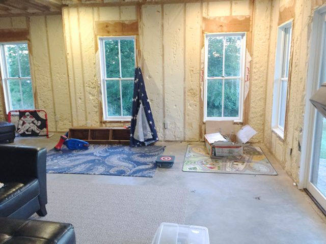 Phase 1: Finishing the basement family room & The next big project: Shiplap in the basement family room ...