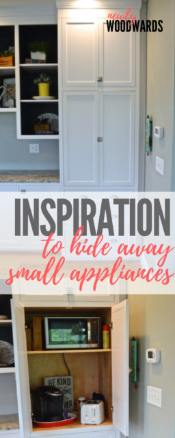 With so many small appliances - toasters, mixers, and the like - how to hide small appliances in the kitchen can be quite the task. Enter: small appliance cabinet for the win!
