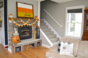 Candy corn mantel for Halloween