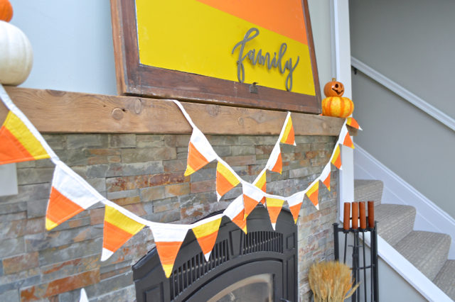 Candy Corn Mantel decor | NewlyWoodwards