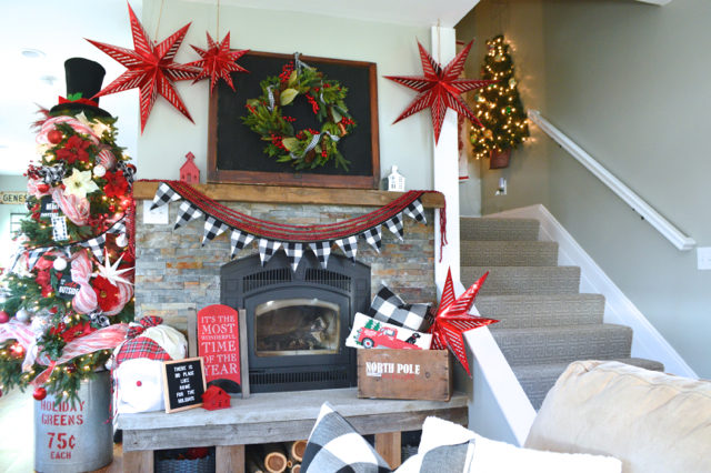 Black and red holiday mantel inspiration NewlyWoodwards
