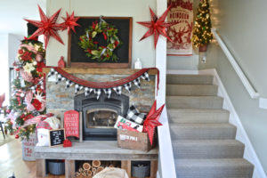 Black and red holiday mantel inspiration