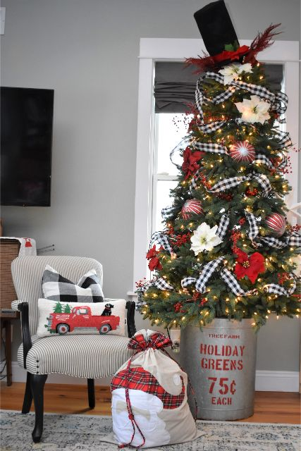 A tree can be beautiful and safe for kids. This tree has ribbon, flowers, berries and non-glass ornaments.