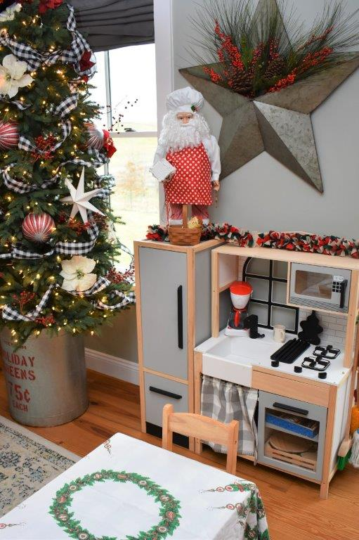 Kid play kitchen decked out for the holidays