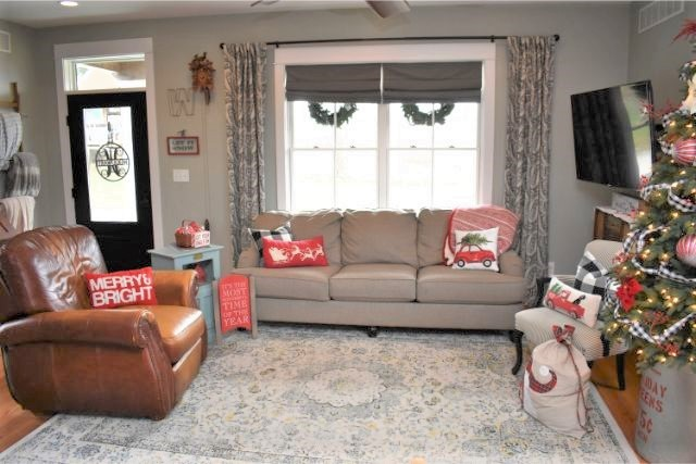 This cozy space is a festive space for the holidays and a comfortable space for kids and families.