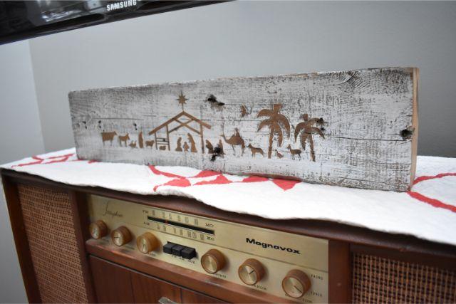 DIY barn beam nativity scene on a record player
